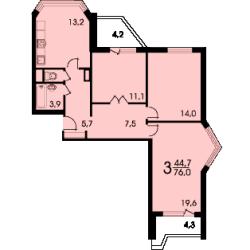 3 комнатная квартира п44т