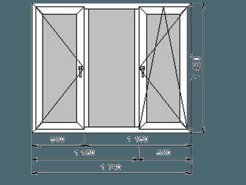 окно ПВХ трехстворчатое