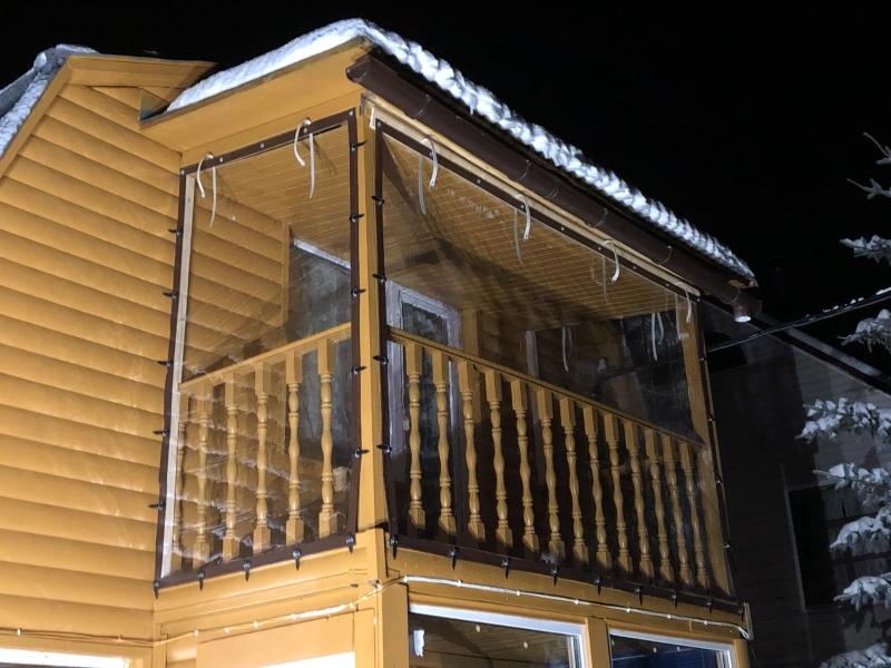 мягкие окна зимние для второго этажа