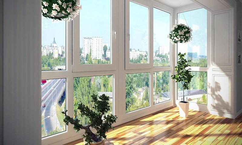 Высокие пластиковые окна